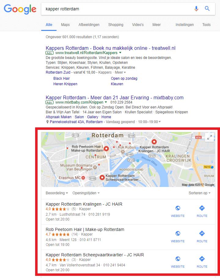 lokale vindbaarheid zoekresultaten