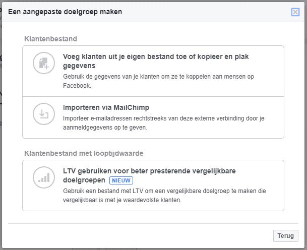 Facebook e-mailadressen importeren