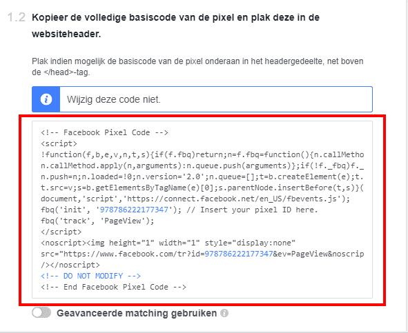 Facebook pixel kopieren