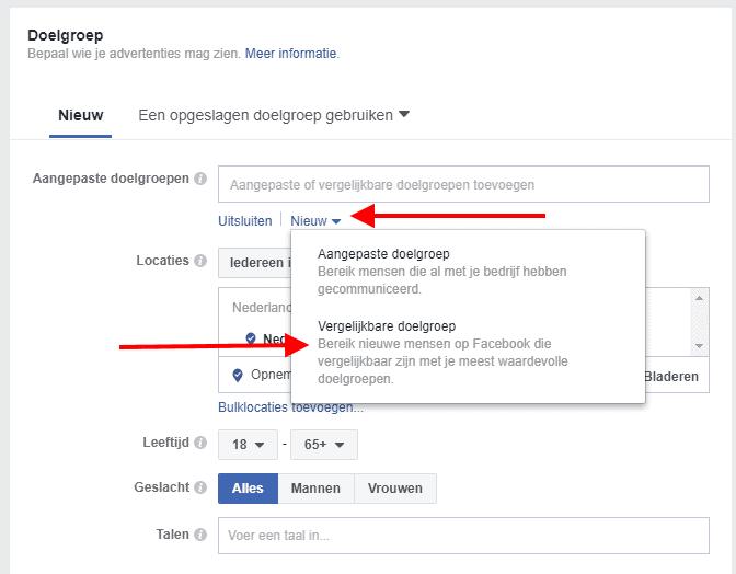 Vergelijkbare doelgroep maken Facebook