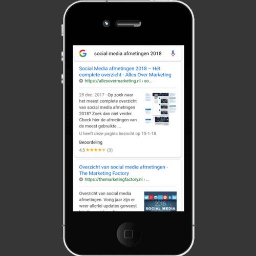 AMP voorbeeld zoekresultaten
